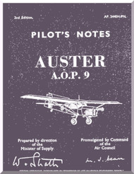 Auster A.O.P. 9 Aircraft Instructions Pilot's Notes Manual