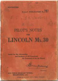 A . V. Roe Avro Lincoln Mk.30 Aircraft  Pilot's Notes Manual RAAF AP 797