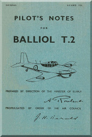 Boulton Paul Balliol T2 Aircraft Pilot's Notes Manual