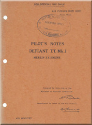 Boulton Paoul Defiant T.T. Mk.I  Aircraft  Pilot's Notes Manual A.P. 1592C