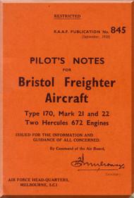 Bristol 170 Freighter  Aircraft  Pilot's Notes Manual - 1950