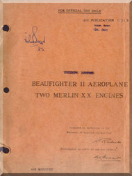 Bristol Beaufighter II  Aircraft Pilot's Notes Manual - Two Merlin Engines - AP 1721 B