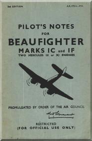 Bristol Beaufighter Mk. IC IF  Aircraft Pilot's Notes Manual