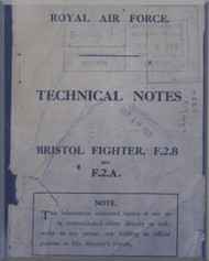 Bristol Fighter  F2 A  B Aircraft Technical Notes Manual