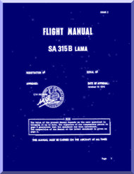 Sud Aviation  / SNCASE SA-315 B  Lama  Helicopter  Flight  Manual