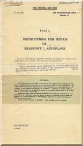 Bristol Beaufort II Aircraft  Instruction Repair  Manual  - 1941