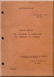 Bristol Blenheim IV  Aircraft Pilot's Notes Manual -   A.P 1530 B