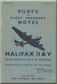 Handley Page Halifax  II & V Aircraft  Pilot's Notes Manual A.P. 1719 B & E