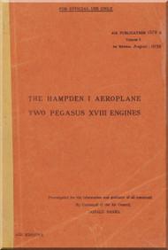 Handley Page Hampden  I  Aircraft  Service  Manual A.P. 1579 A Volume 1  - 1938