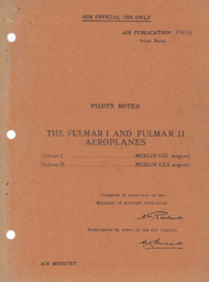 Fairey Fulmar I & II Aircraft Pilot's Notes Manual