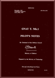 Folland Gnat T  Mk.1 Aircraft  Pilot's Notes Manual