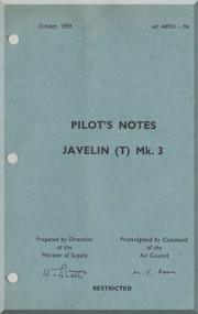 Gloster Javelin T Mk.3  Aircraft Pilot's Notes Manual