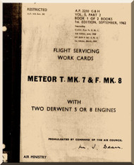 Gloster Meteor Mk.7 Mk.9 Aircraft Flight Servicing Works Cards Manual