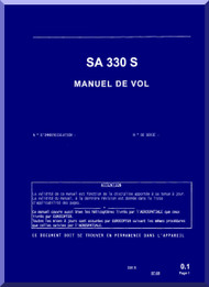 Sud Aviation  / SNCASE / Aerospatiale  SA 330 S  Helicopter  Flight  Manual   - French