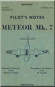 Gloster Meteor 7 Aircraft Pilot's Notes Manual