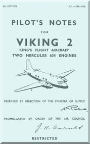 Vickers Viking 2  Aircraft  Pilot's Notes Manual -  A.P. 41708 -P.N.