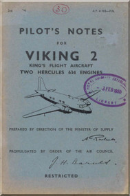 Vickers Viking  Aircraft  Pilot's Notes Manual 1948