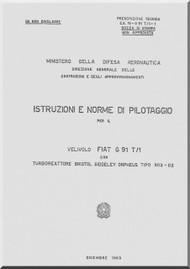 Aeritalia / FIAT G-91 T/1 Aircraft Flight  Manual, Istruzioni e norme per il pilotaggio ( Italian Language )