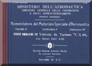 Caproni Ca.100 Aircraft Illustrated Parts Catalog  with Engine FIAT A50  Manual, Catalogo Nomenclatore  con Motore  FIAT A.50 ( Italian Language )