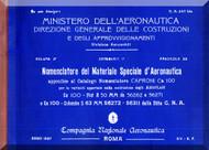 Caproni Ca.100 Aircraft Parts Manual - A.50 - CA 247 Bis - 1937