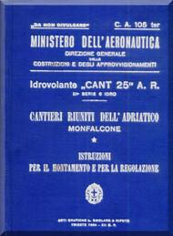 CANT 25 Aircraft Erection and Maintenance Manual,  Istruzioni per il Montaggio  e la Regolazione ( Italian Language ) , 1934