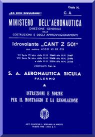 CANT Z 501  SAAS Aircraft Erection and Maintenance Manual,  Istruzioni per il Montaggio  e la Regolazione ( Italian Language ) , 1940