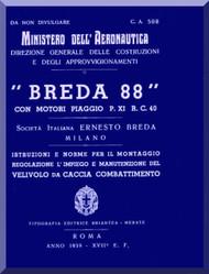 Breda Ba 88 Aircraft Maintenance  Manual,  Istruzione e norme per il Montaggio Regolazione  ( Italian Language ) ,- C.A. 508 - 1939