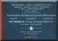 Breda Ba 25 Aircraft Illustrated Parts Catalog Manual,  Manuale Nomenclatore ( Italian Language ) , C.a. 67 - 1932