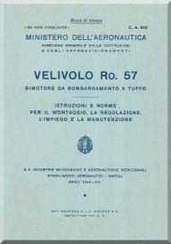IMAM Romeo Ro.57 Aircraft Erection and Maintenance Manual,  Istruzioni per il Montaggio  e la Regolazione ( Italian Language ) ,