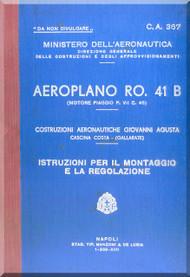 IMAM Romeo Ro.41 B Aircraft Erection and Maintenance Manual,  Istruzioni per il Montaggio  e la Regolazione ( Italian Language ), CA.367