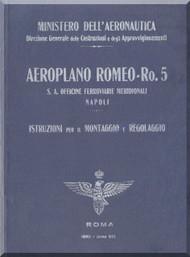IMAM Romeo Ro.5 Aircraft Erection and Maintenance Manual,  Istruzioni per il Montaggio  e la Regolazione ( Italian Language ) ,