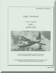 Glenn Martin P5M-1 Marlin Aircraft Flight Manual - 01-65JA-1 - 1961