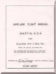 Glenn Martin 404 Flight  Manual  Eastern Airline  - 1951