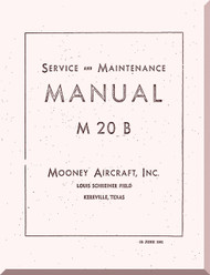 Mooney M.20 B  Aircraft Service Maintenance Manual - 1961