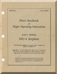 "Vought F4U-4 "" Corsair "" Aircraft Flight Pilot's Handbook Manual 01-45HB-1 - 1945"