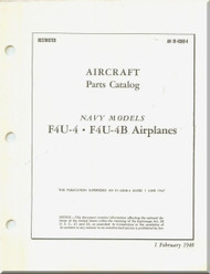 Vought F4U-4  F4U-4 B Aircraft Illustrated Parts Caralog Manual , AN 01-45HB-4 , 1948