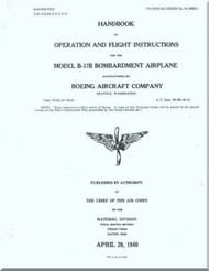 Boeing B-17 B Aircraft Operation and Flight Instruction Instructions  Manual -  AN 01-20EB-1 ,   1940