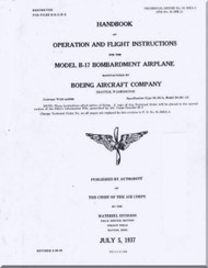 Boeing B-17 A Aircraft Operation and Flight Instruction Instructions  Manual -  AN 01-20EA-1 ,   1937