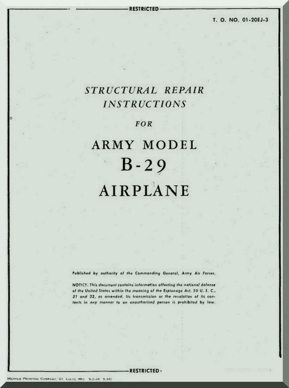 boeing b 29 aircraft structural repair manual 01 20ej 3 aircraft rh aircraft reports com