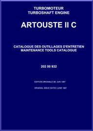 Turbomeca Artouste II C Aircraft Helicopter Engine Maintenance Tools Catalogue Manual - 1987