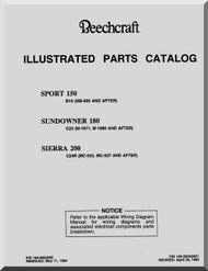 Beechcraft  Sport 150  Sundowner 180  Sierra 200 Aircraft  Parts Catalog  Manual -  1984