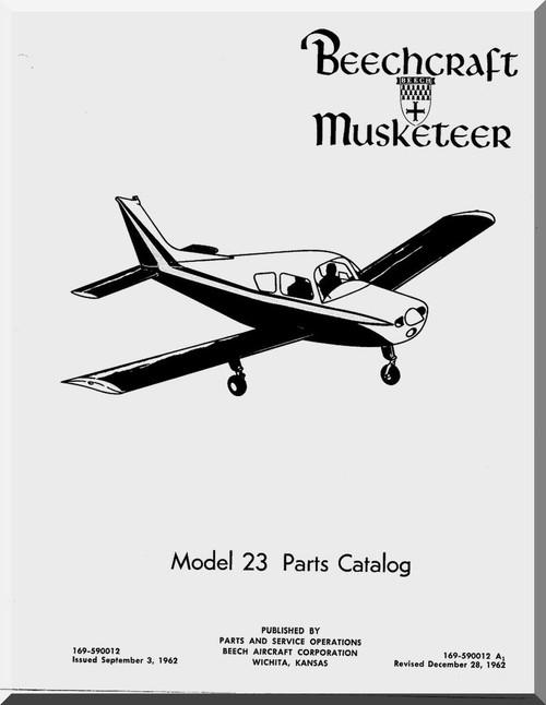 Beechcraft Musketeer 23 Aircraft Parts Catalog Manual