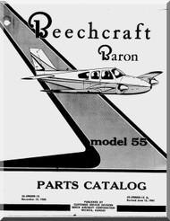 Beechcraft  Baron 55   Aircraft  Parts Catalog  Manual - 1961