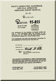Beechcraft  Baron 55   Aircraft  Handbook Flight  Manual - 1961