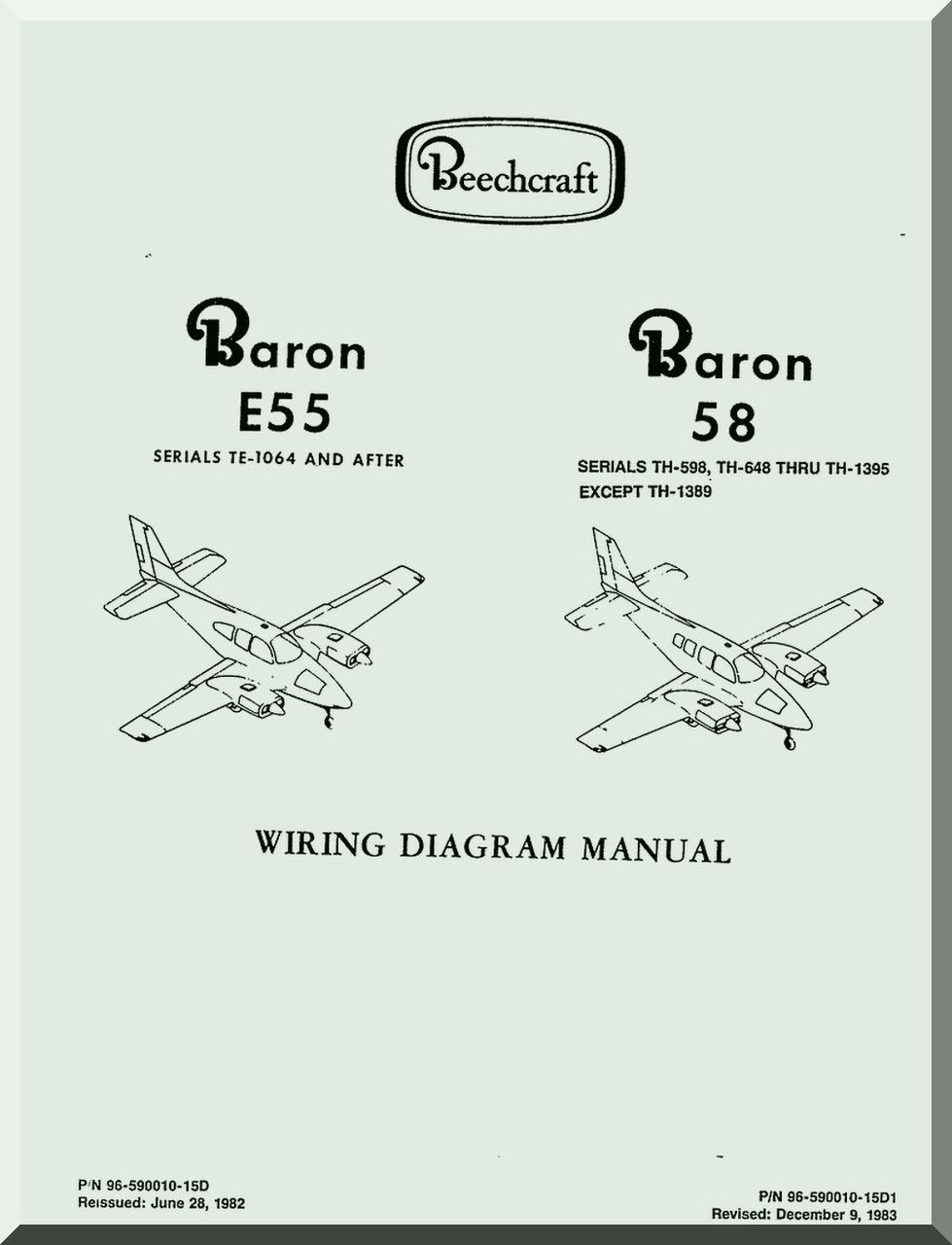 Beechcraft Baron E 55 58 Aircraft Wiring Diagram Manual