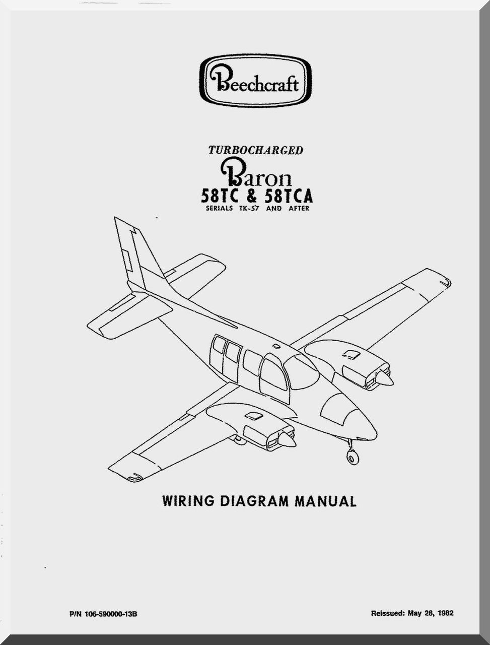beechcraft baron 58 tc tca aircraft wiring manual 1982