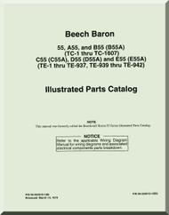 Beechcraft  Baron 55  A55, B55, C55, D55, E55   Aircraft  Parts Catalog  Manual -  1961