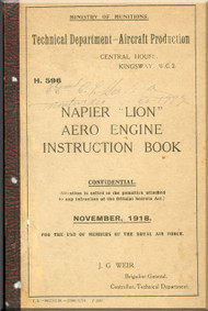 Napier Lion Aero Engine Instruction Book  Manual - 1918