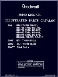 Beechcraft Super King Air   200  T C CT Aircraft Illustrated Parts Catalog Manual
