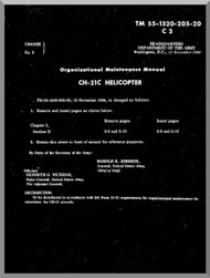 Piasecki CH-21 C  Helicopter  Organizational Maintenance   Manual - TM 55-1520-205-20 , 1956